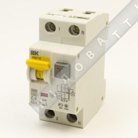 Автоматический выключатель диф. тока IEK АВДТ32 C06  30мА