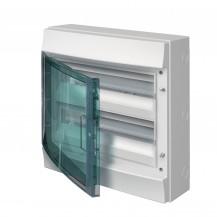 Шкаф электрический IP65 Mistral накладной 36 модулей 2 ряда, прозрачные двери, с винтовыми N/PE клеммами на 52 подключения