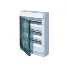 Шкаф электрический IP65 Mistral накладной 36 модулей 3ряда, прозрачные двери, с винтовыми N/PE клеммами на 42 подключения