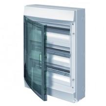 Шкаф электрический IP65 Mistral накладной 54 модуля, прозрачные двери, с винтовыми N/PE клеммами на 52 подключения