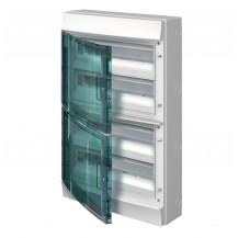 Шкаф электрический IP65 Mistral накладной 72 модуля, прозрачные двери, с винтовыми N/PE клеммами на 52 подключения