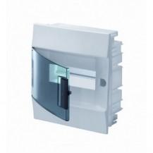 Шкаф электрический IP41 Mistral встроенный 8 модулей, прозрачные двери, с винтовыми N/PE клеммами на 12 подключения