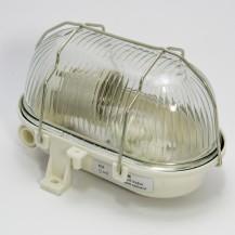 Светильник НПП 2604 белый овал с алюминиевой решеткой пластик 60 Вт IP54