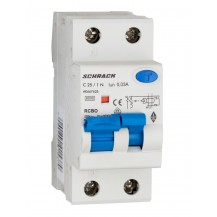 Диференциальный автоматический выкл. 6кА/30мА 1P+N 25A х-ка C Тип A Schrack AMPARO